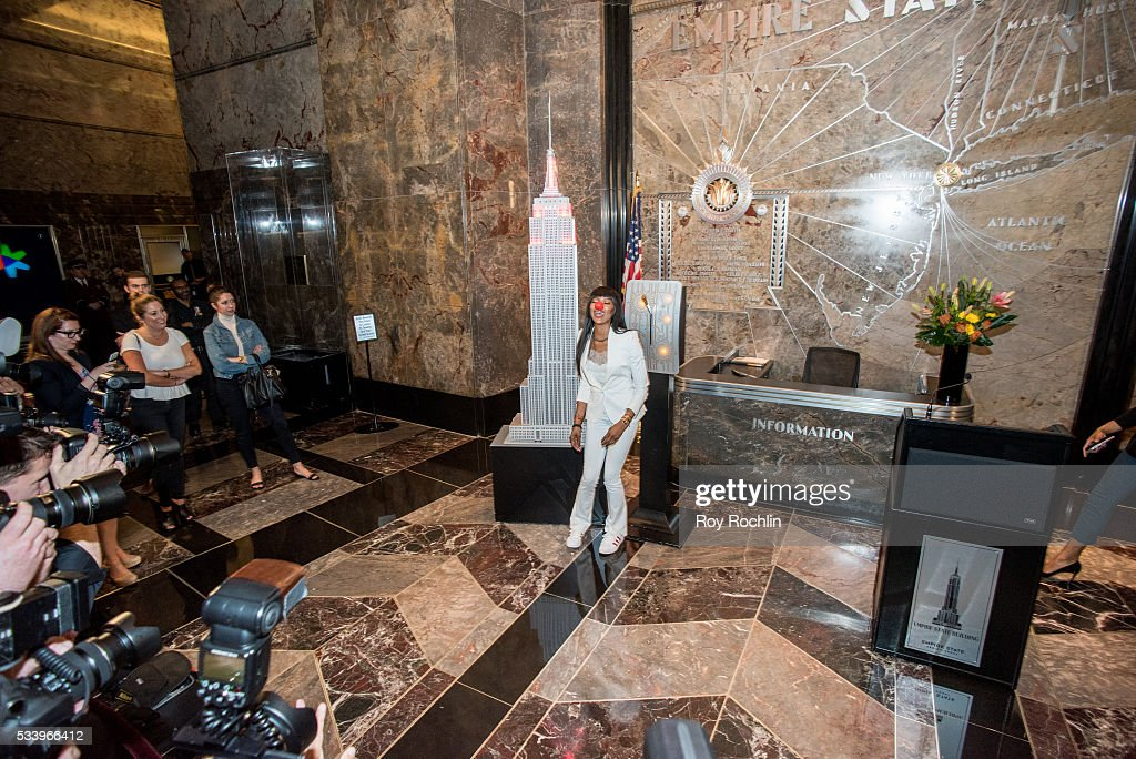 Model Naomi Campbell Lights Empire State Building on May 24, 2016 in New York City.