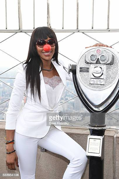 Model Naomi Campbell lights the Empire State Building red in celebration of Red Nose Day at The Empire State Building on May 24 2016 in New York City