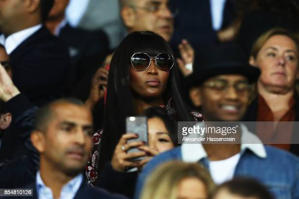 Model Naomi Campbell looks on from the stands during the UEFA Champions League group B match between Paris SaintGermain and Bayern Muenchen at Parc...