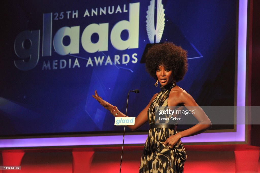 Model <a gi-track='captionPersonalityLinkClicked' href=/galleries/search?phrase=Naomi+Campbell&family=editorial&specificpeople=171722 ng-click='$event.stopPropagation()'>Naomi Campbell</a> onstage during the 25th Annual GLAAD Media Awards at The Beverly Hilton Hotel on April 12, 2014 in Beverly Hills, California.