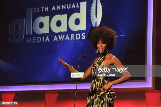 Model Naomi Campbell onstage during the 25th Annual GLAAD Media Awards at The Beverly Hilton Hotel on April 12 2014 in Beverly Hills California