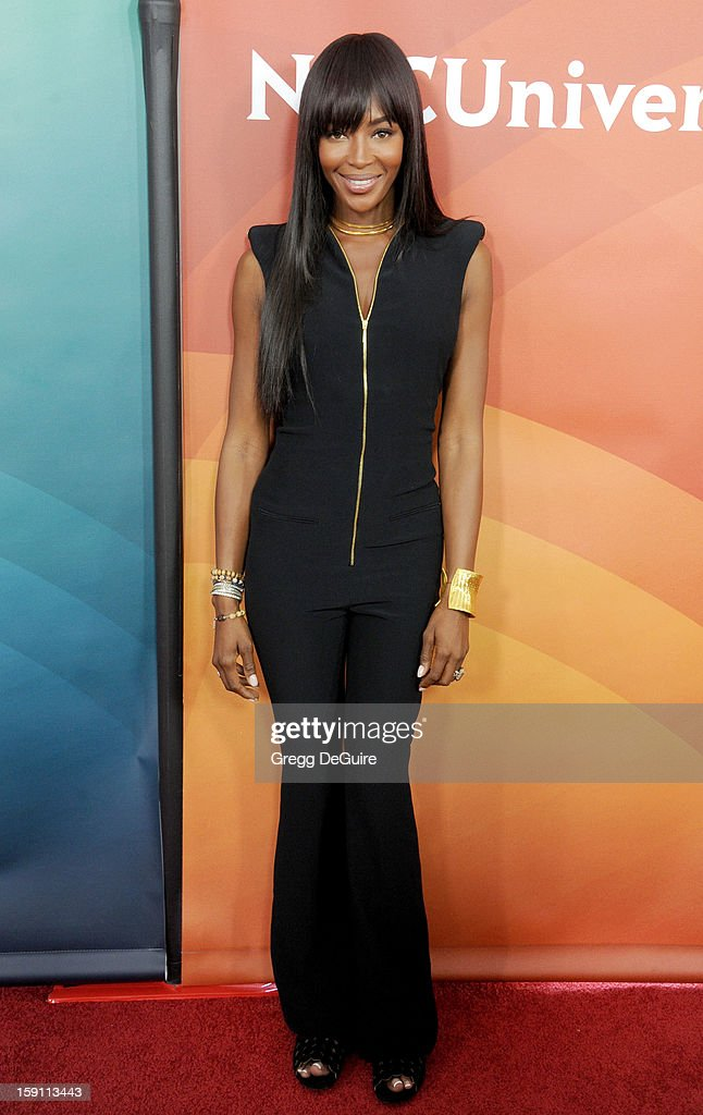 Model Naomi Campbell poses at the 2013 NBC Universal TCA Winter Press Tour Day 2 at The Langham Huntington Hotel and Spa on January 7, 2013 in Pasadena, California.