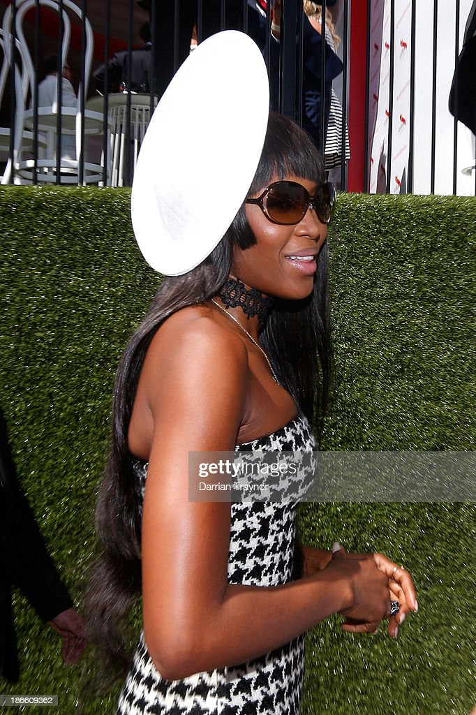 Model Naomi Campbell poses at the Lexus Marquee on Victoria Derby Day at Flemington Racecourse on November 2, 2013 in Melbourne, Australia.