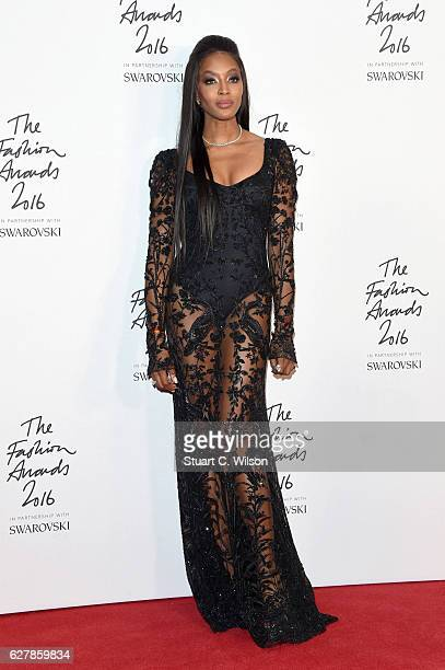 Model Naomi Campbell poses in the winners room at The Fashion Awards 2016 at Royal Albert Hall on December 5 2016 in London England