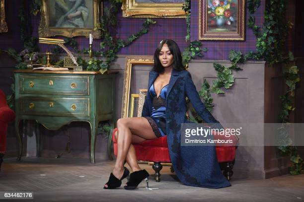 Model Naomi Campbell poses on the runway during La Perla Fall/Winter 2017 RTW Show at SIR Stage 37 on February 9 2017 in New York City