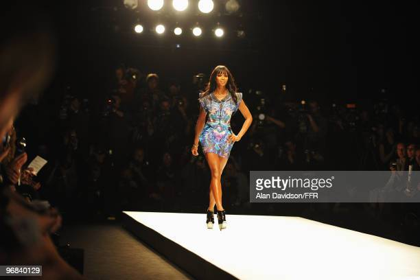 Model Naomi Campbell walks down the catwalk at Naomi Campbell's Fashion For Relief Haiti London 2010 Fashion Show at Somerset House on February 18...