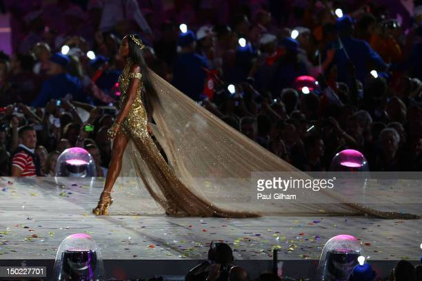 Model Naomi Campbell walks onstage during the Closing Ceremony on Day 16 of the London 2012 Olympic Games at Olympic Stadium on August 12 2012 in...