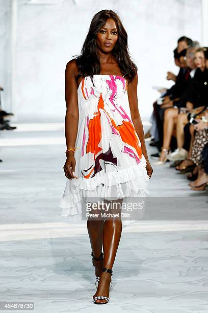 Model Naomi Campbell walks the runway at the Diane Von Furstenberg fashion show during MercedesBenz Fashion Week Spring 2015 at Spring Studios on...