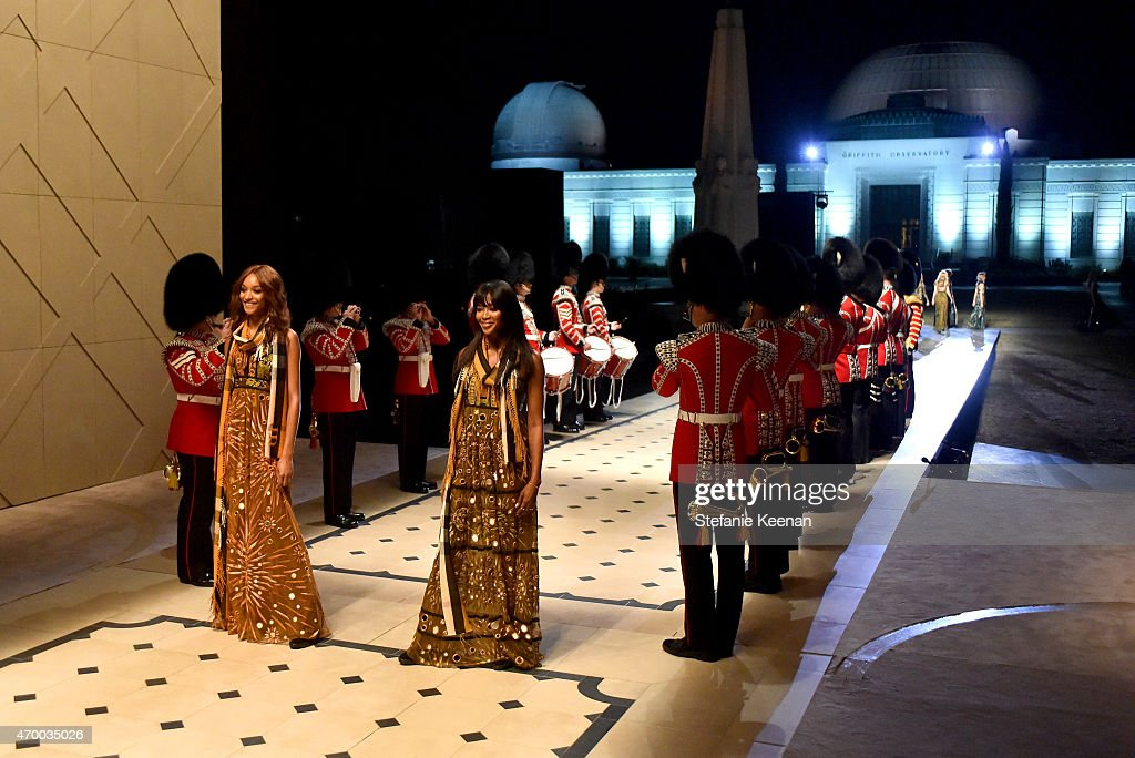 Model Naomi Campbell walks the runway during the Burberry 'London in Los Angeles' event at Griffith Observatory on April 16 2015 in Los Angeles...