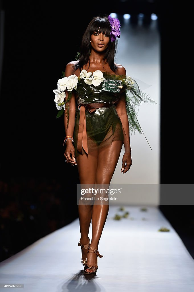 Model <a gi-track='captionPersonalityLinkClicked' href=/galleries/search?phrase=Naomi+Campbell&family=editorial&specificpeople=171722 ng-click='$event.stopPropagation()'>Naomi Campbell</a> walks the runway during the Jean Paul Gaultier show as part of Paris Fashion Week Haute Couture Spring/Summer 2015 on January 28, 2015 in Paris, France.