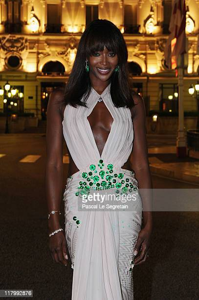 Model Naomi Campbell wearing a Givenchy dress attends a dinner at Opera terraces after the religious wedding ceremony of Prince Albert II of Monaco...