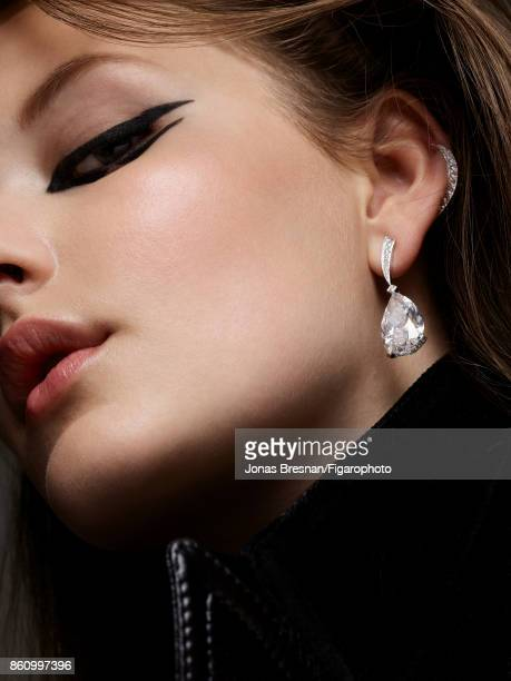 Model poses at a beauty and fashion shoot for Madame Figaro on July 17 2017 in Paris France Makeup by Dior Jacket earring PUBLISHED IMAGE CREDIT MUST...