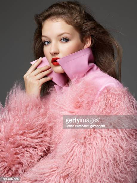 Model poses at a beauty and fashion shoot for Madame Figaro on July 17 2017 in Paris France Makeup by Dior Coat CREDIT MUST READ Jonas...