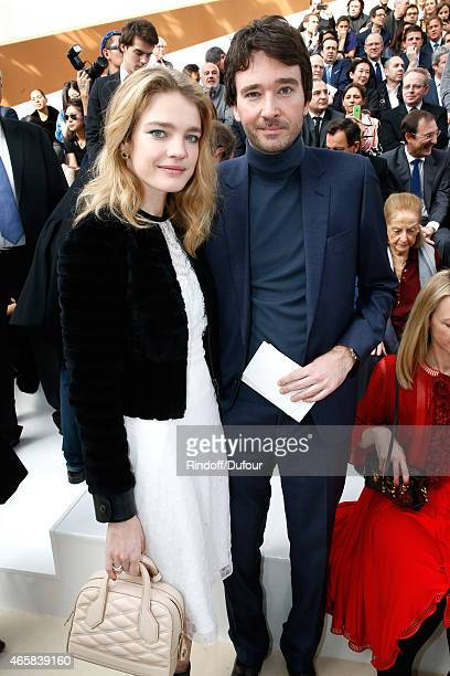 Model Natalia Vodianova and General manager of Berluti Antoine Arnault attend the Louis Vuitton show as part of the Paris Fashion Week Womenswear...