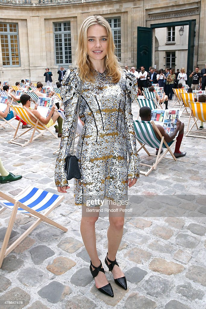 Model <a gi-track='captionPersonalityLinkClicked' href=/galleries/search?phrase=Natalia+Vodianova&family=editorial&specificpeople=203265 ng-click='$event.stopPropagation()'>Natalia Vodianova</a> attends the Berluti Menswear Spring/Summer 2016 show as part of Paris Fashion Week. Held at Musee Picasso on June 26, 2015 in Paris, France.