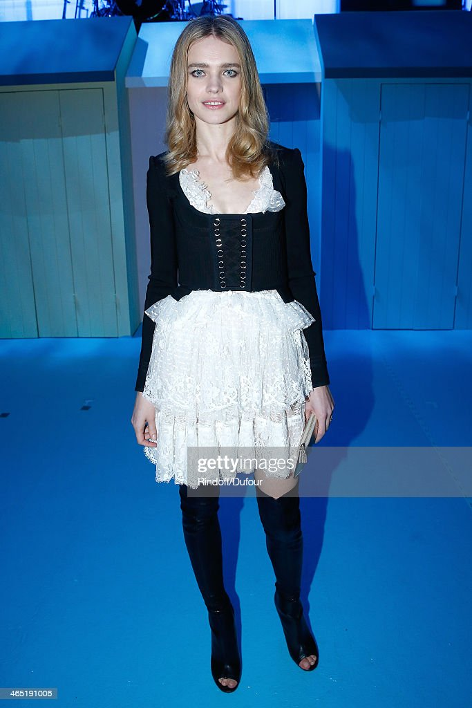 Model <a gi-track='captionPersonalityLinkClicked' href=/galleries/search?phrase=Natalia+Vodianova&family=editorial&specificpeople=203265 ng-click='$event.stopPropagation()'>Natalia Vodianova</a> attends the ETAM show as part of the Paris Fashion Week Womenswear Fall/Winter 2015/2016. Held at Piscine Molitor on March 3, 2015 in Paris, France.