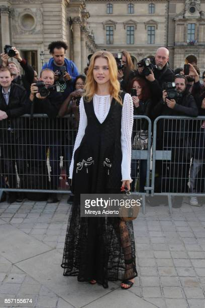 Model Natalia Vodianova attends the Louis Vuitton show as part of the Paris Fashion Week Womenswear Spring/Summer 2018 on October 3 2017 in Paris...