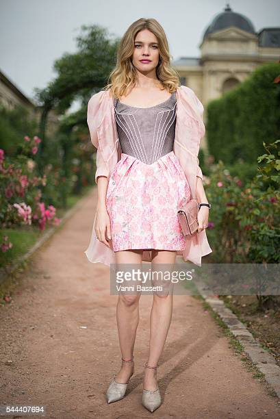 Model Natalia Vodianova poses before the Ulyana Sergeenko show at Galerie de la Mineralogie during Paris Fashion Week Haute Couture FW16/17 on July 3...