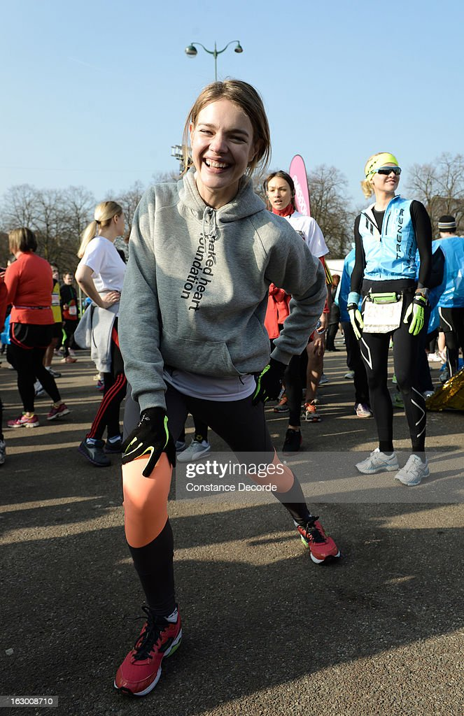 Model Natalia Vodianova prepares before she runs Paris Semi-Marathon on the benefit of 'Naked Heart Foundation' on March 3, 2013 in Paris, France.