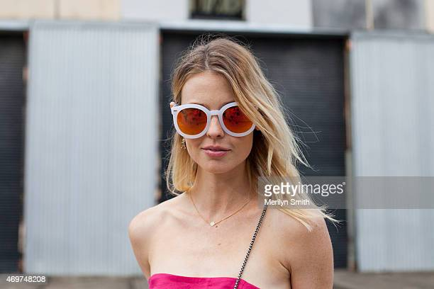 Model Natalie Cantell wears a Juliette Hogan jumpsuit and Karen Walker sunglasses at MercedesBenz Fashion Week Australia 2015 at Carriageworks on...