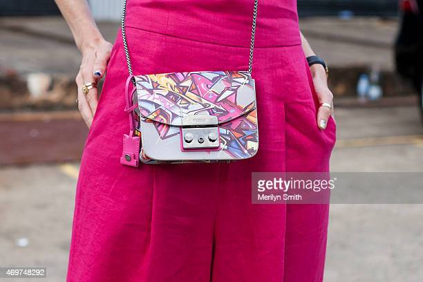 Model Natalie Cantell wears a Juliette Hogan jumpsuit Furla bag at MercedesBenz Fashion Week Australia 2015 at Carriageworks on April 14 2015 in...