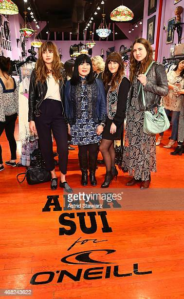 Model Natalie Suarez fashion designer Anna Sui design director at O'Neill Rachael Hill and Dylana Suarez attend the Anna Sui for O'Neill Collection...