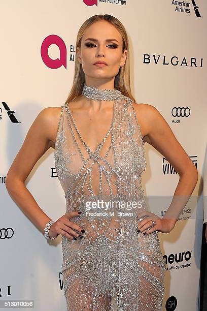 Model Natasha Poly attends the 24th Annual Elton John AIDS Foundation's Oscar Viewing Party on February 28 2016 in West Hollywood California