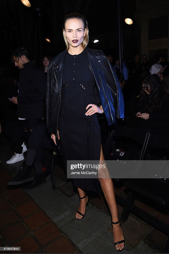 Model <a gi-track='captionPersonalityLinkClicked' href=/galleries/search?phrase=Natasha+Poly&family=editorial&specificpeople=2163130 ng-click='$event.stopPropagation()'>Natasha Poly</a> attends the Alexander Wang Fall 2016 fashion show during New York Fashion Week at St. Bartholomew's Church on February 13, 2016 in New York City.