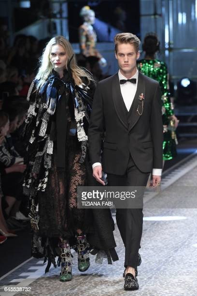 US model Neels Visser and his sister Kendall present a creation for fashion house Dolce Gabbana during the Women's Fall/Winter 2017/2018 fashion week...