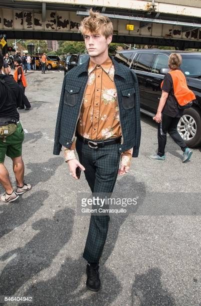 Model Neels Visser is seen arriving to Coach Spring 2018 fashion show during New York Fashion Week at Basketball City Pier 36 South Street on...