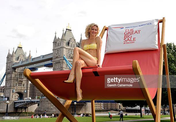 Model Nell McAndrew poses beside Tower Bridge to launch BA's great BIG sale on August 25 2010 in London England Visitors to Tower Bridge today were...