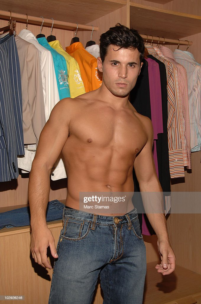 Model Nick Pesola poses backstage at the Domenico Vacca Denim Preview at Domenico Vacca on July 15, 2010 in New York City.