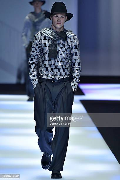 Model Nick Truelove walks the runway at the Emporio Armani show during Milan Men's Fashion Week Fall/Winter 2017/18 on January 14 2017 in Milan Italy