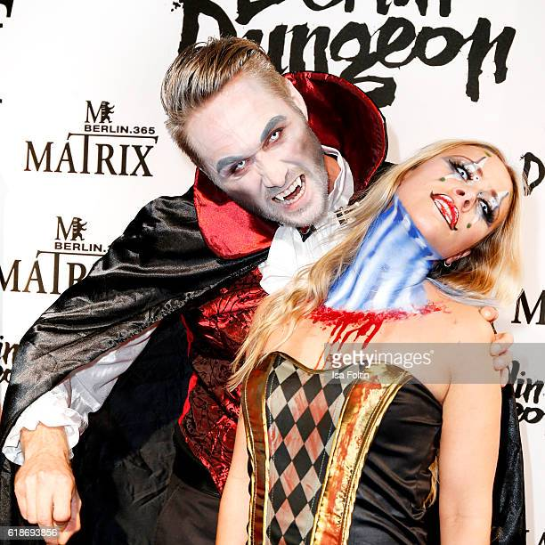 Model Nico Schwanz and german actress Sina Tkotsch attend the Halloween party by Natascha Ochsenknecht at Berlin Dungeon on October 27 2016 in Berlin...