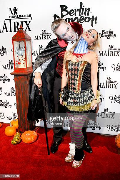 Model Nico Schwanz and german actress Sina Tkotsch attend the Halloween party by Natascha Ochsenknecht at Berlin Dungeon on October 27 2016 in Berlin...