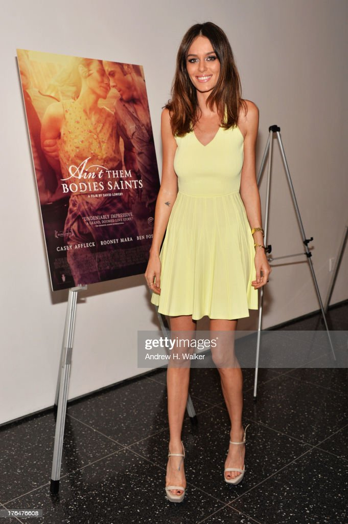Model Nicole Trunfio attends the Downtown Calvin Klein with The Cinema Society screening of IFC Films' 'Ain't Them Bodies Saints' at the Museum of...