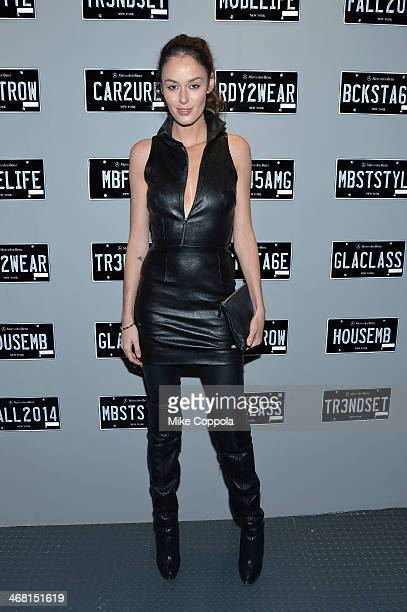 Model Nicole Trunfio attends the MercedesBenz Star Lounge during MercedesBenz Fashion Week Fall 2014 at Lincoln Center on February 9 2014 in New York...