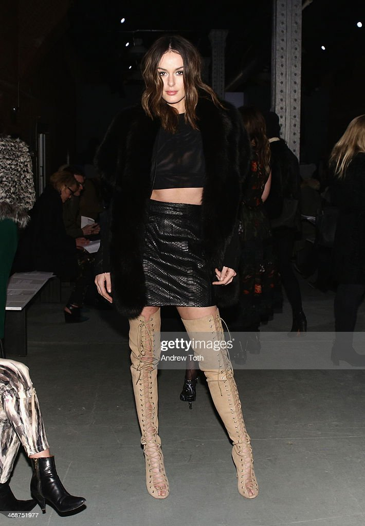 Model <a gi-track='captionPersonalityLinkClicked' href=/galleries/search?phrase=Nicole+Trunfio&family=editorial&specificpeople=3006654 ng-click='$event.stopPropagation()'>Nicole Trunfio</a> attends the Wes Gordon fashion show during Mercedes-Benz Fashion Week Fall 2014 on February 11, 2014 in New York City.
