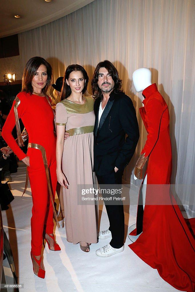 Model Nieves Alvarez actress Frederique Bel and Fashion designer Stephane Rolland attend the Stephane Rolland show as part of Paris Fashion Week...