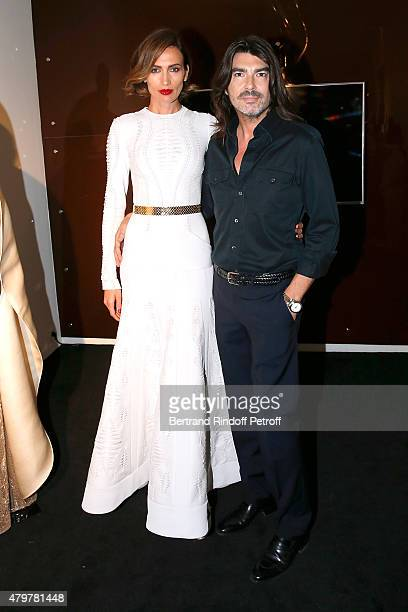 Model Nieves Alvarez and Fashion Designer Stephane Rolland attend the Stephane Rolland show as part of Paris Fashion Week Haute Couture Fall/Winter...