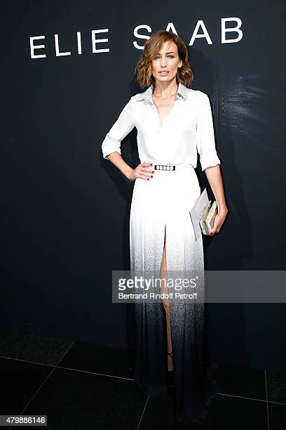 Model Nieves Alvarez attends the Elie Saab show as part of Paris Fashion Week Haute Couture Fall/Winter 2015/2016 Held at Pavillon Cambon Capucines...