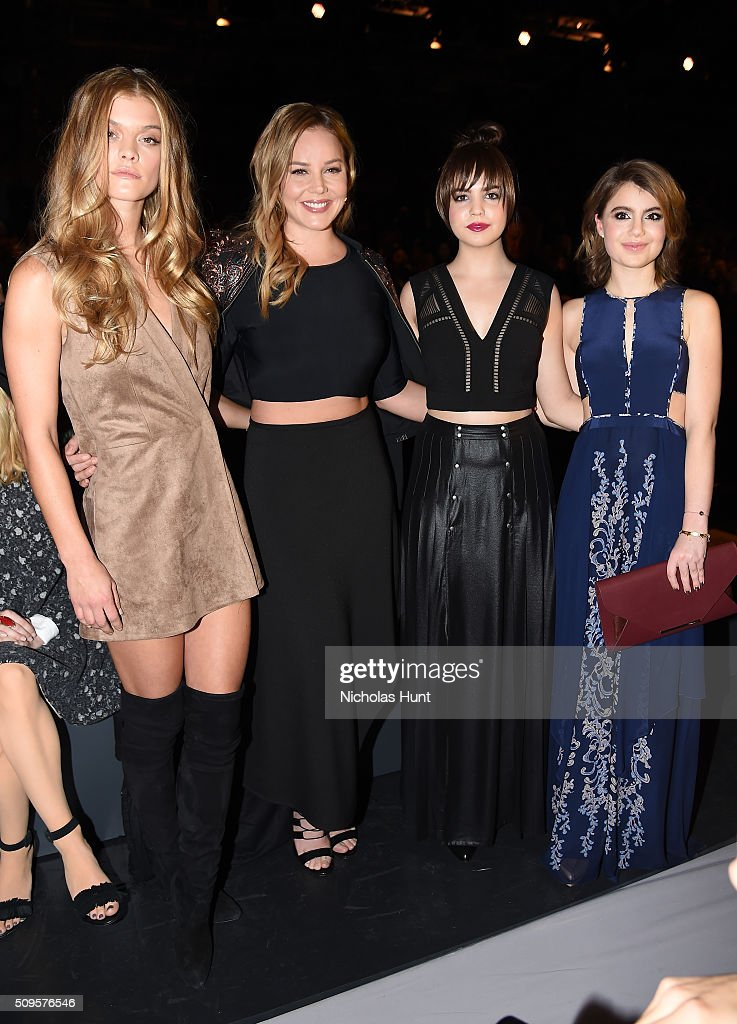 Model Nina Agdal and Actresses Abbie Cornish, Bailee Madison and Sami Gayle attend the front row at the BCBGMAXAZRIA Fall 2016 show during New York Fashion Week at The Arc, Skylight at Moynihan Station on February 11, 2016 in New York City.