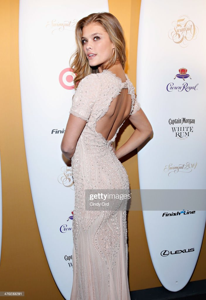 Model Nina Agdal attends as Captain Morgan White Rum and Crown Royal XO raise a glass to the Sports Illustrated Swimsuit 50 Years of Swim Issue at the Sports Illustrated Swimsuit Beach House on February 18, 2014 in New York City.