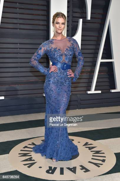 Model Nina Agdal attends the 2017 Vanity Fair Oscar Party hosted by Graydon Carter at Wallis Annenberg Center for the Performing Arts on February 26...