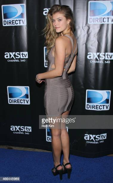 Model Nina Agdal attends the DirecTV Super Saturday Night at Pier 40 on February 1 2014 in New York City