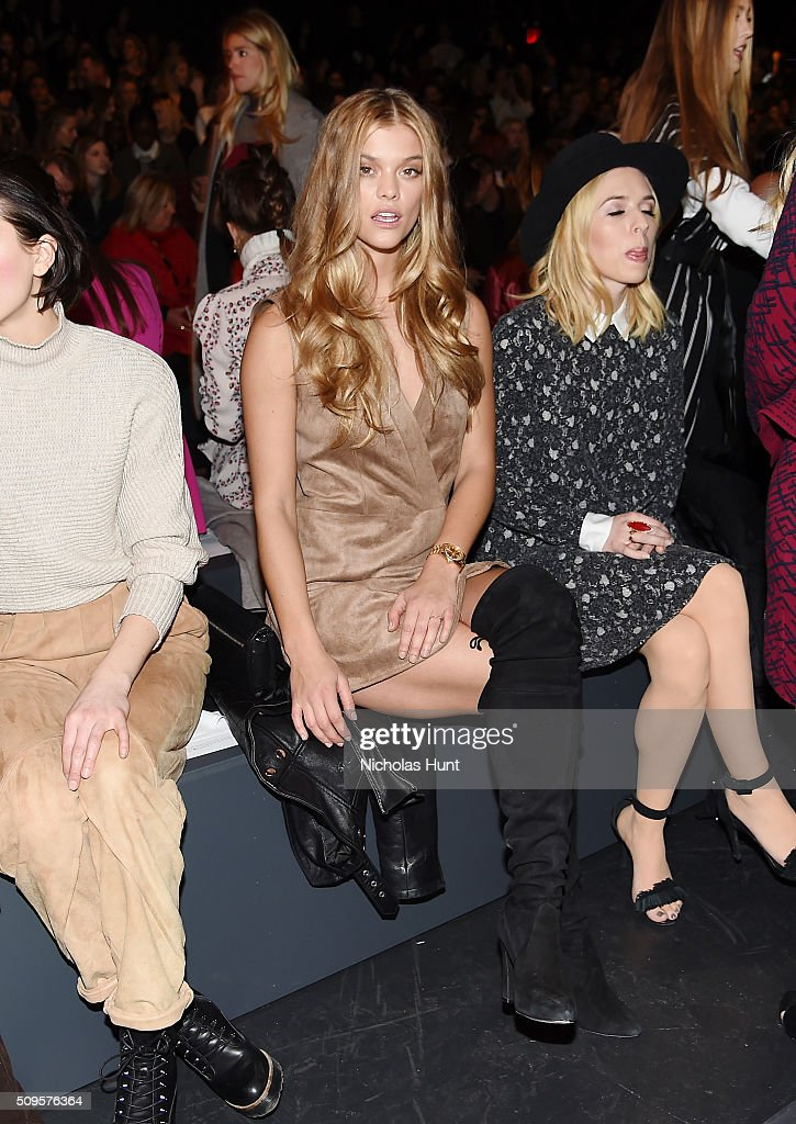 Model <a gi-track='captionPersonalityLinkClicked' href=/galleries/search?phrase=Nina+Agdal&family=editorial&specificpeople=7574783 ng-click='$event.stopPropagation()'>Nina Agdal</a> attends the front row at the BCBGMAXAZRIA Fall 2016 show during New York Fashion Week at The Arc, Skylight at Moynihan Station on February 11, 2016 in New York City.