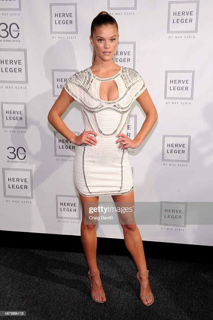 Model Nina Agdal attends the Herve Leger by Max Azria Spring 2016 during New York Fashion Week The Shows at The Arc Skylight at Moynihan Station on...