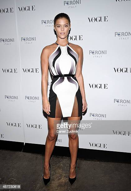 Model Nina Agdal attends The Visionary World of Vogue Italia Exhibition Opening Night presented by Peroni Nastro Azzurro at Industria Studios on...