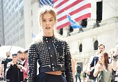 Model Nina Agdal is seen outside the Diesel Black Gold show wearing a Diesel outfit during New York Fashion Week 2016 on September 15 2015 in New...