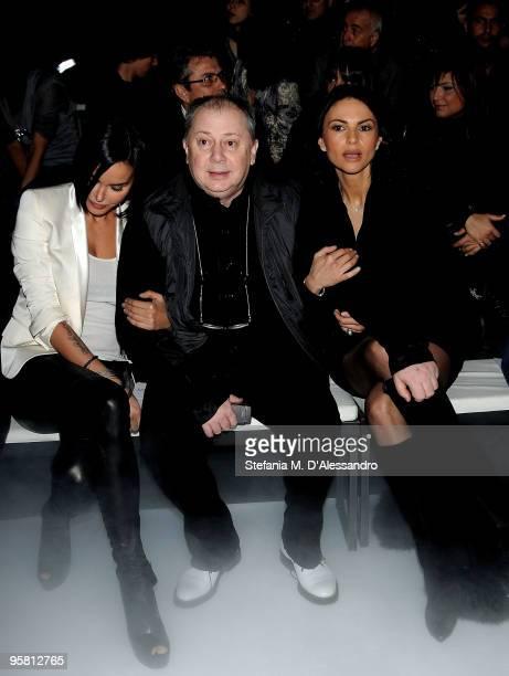 Model Nina Moric press agent Lele Mora and actress Ramona Badescu attend the Carlo Pignatelli Outside Milan Menswear Autumn/Winter 2010 show on...